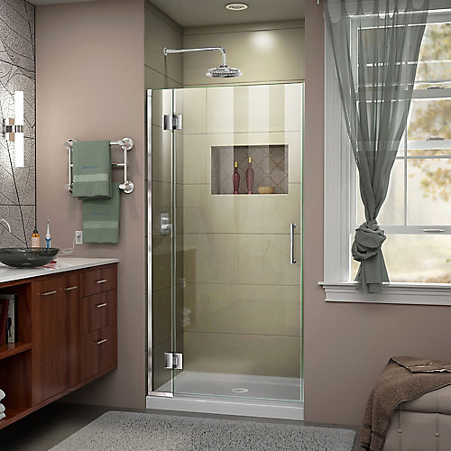Unidoor-X 30-inch x 72-inch Frameless Rectangular Pivot/Hinged Clear Shower Door with Chrome Accents