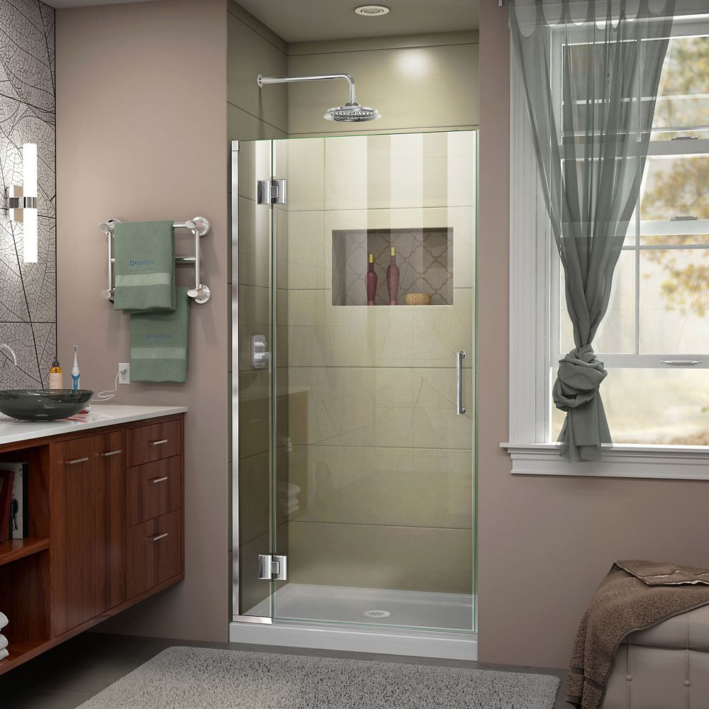Unidoor-X 33-inch x 72-inch Frameless Rectangular Pivot/Hinged Clear Shower Door with Chrome Accents