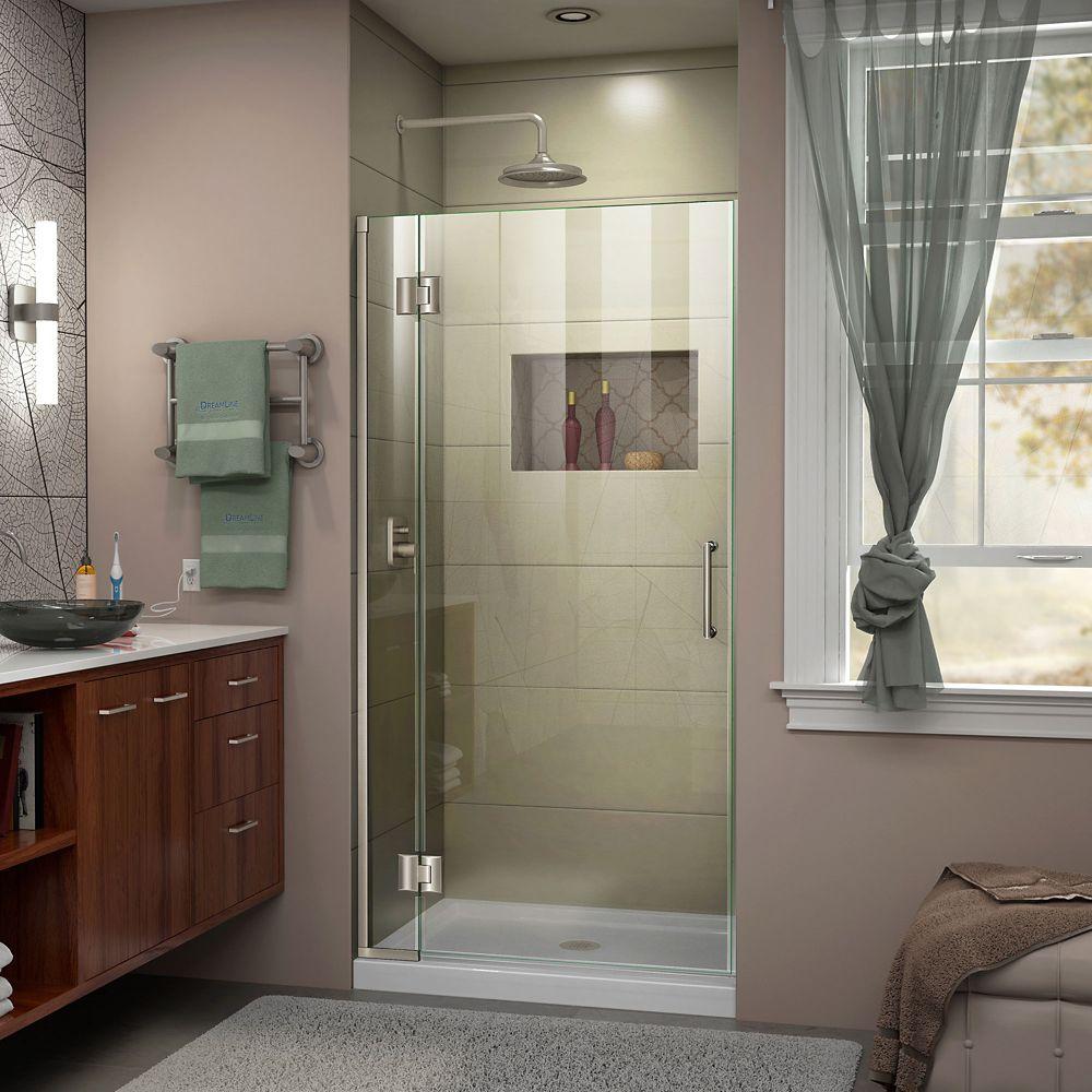 Unidoor-X 34-inch x 72-inch Frameless Rectangular Clear Shower Door with Brushed Nickel Hardware