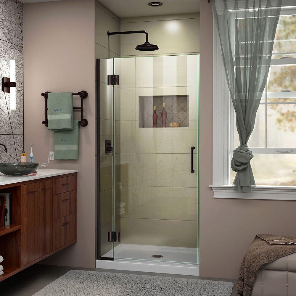 Unidoor-X 34-inch x 72-inch Frameless Rectangular Pivot/Hinged Clear Shower Door with Bronze Accents