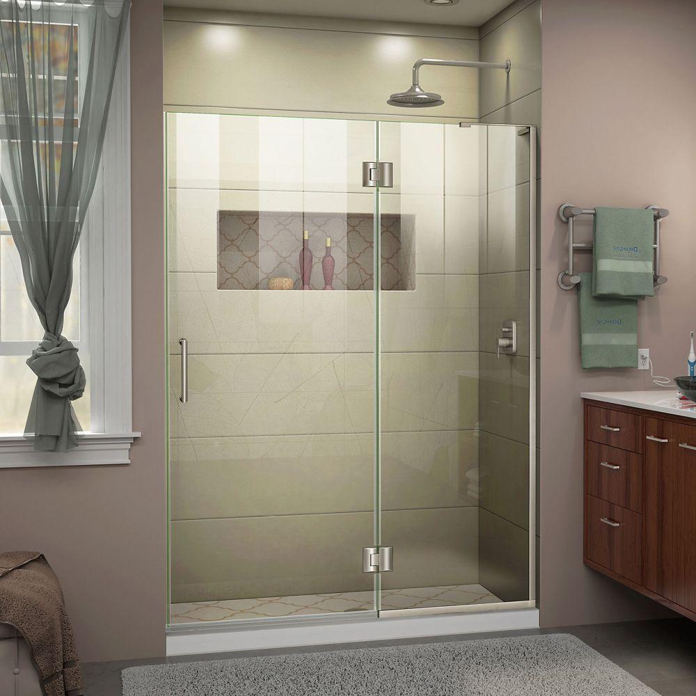 Unidoor-X 47-inch x 72-inch Frameless Rectangular Clear Shower Door with Brushed Nickel Hardware