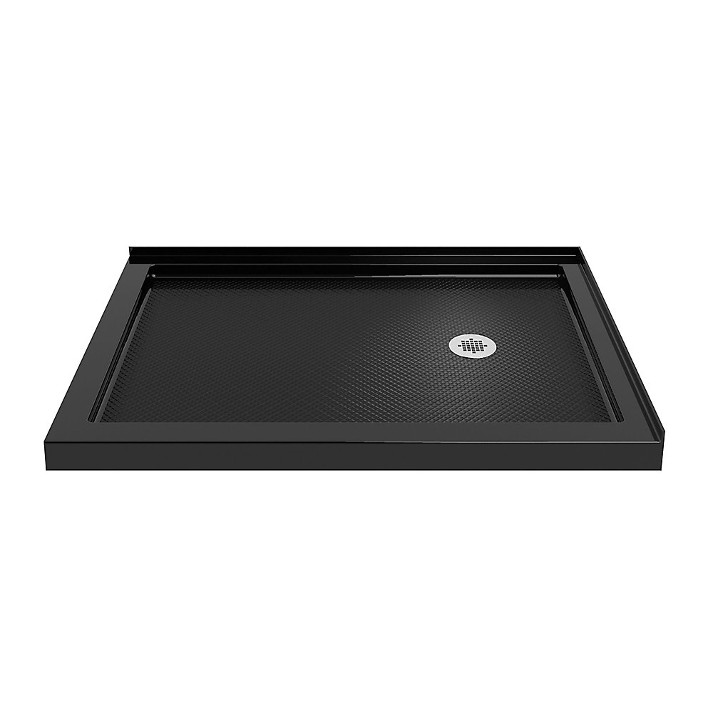 SlimLine 36-inch x 48-inch Double Threshold Shower Base in Black colour with Right Hand Drain