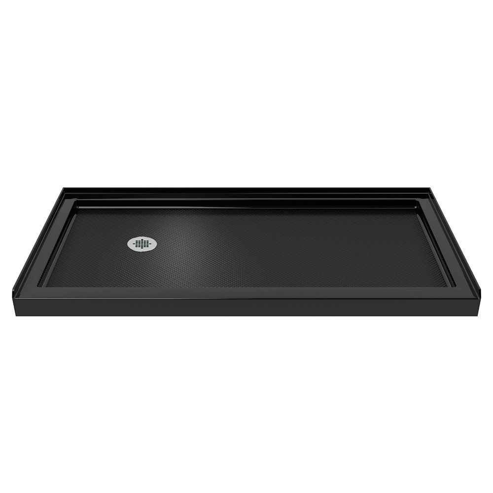 SlimLine 30-inch x 60-inch Single Threshold Shower Base in Black colour with Left Hand Drain