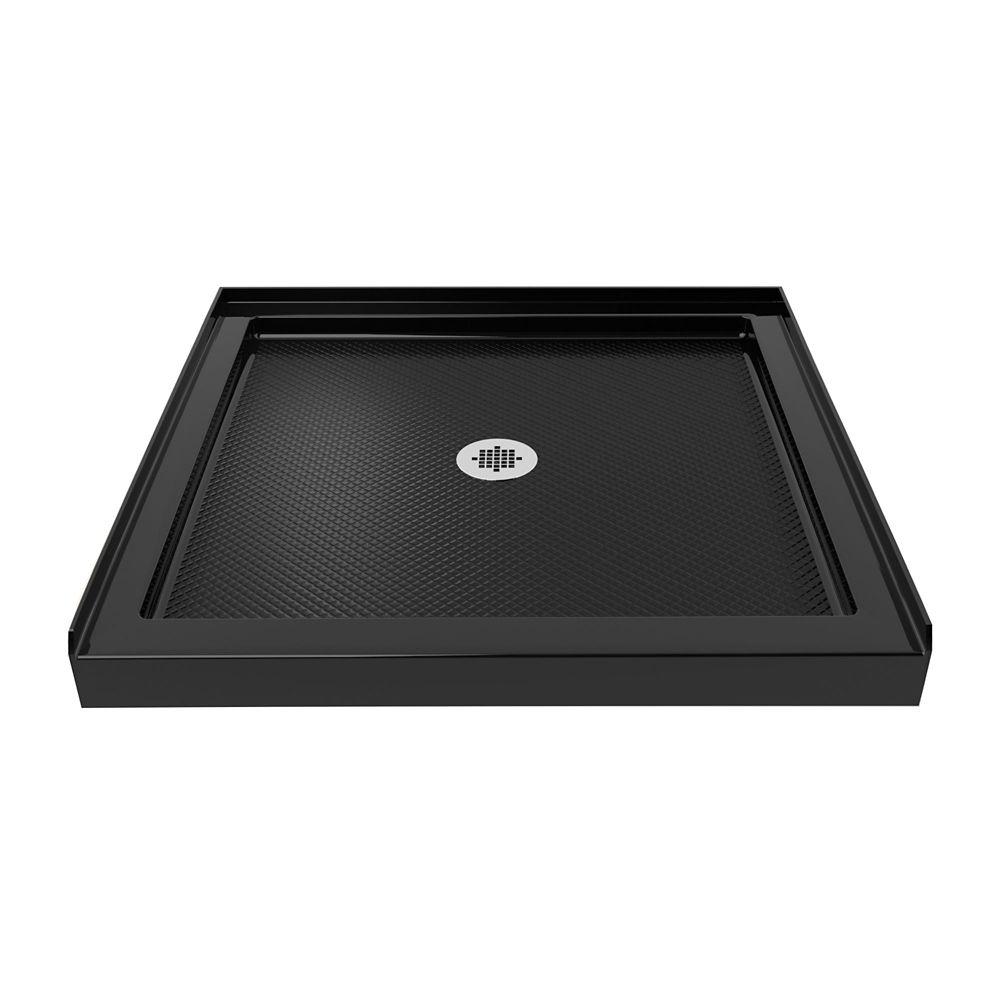 SlimLine 36-inch x 36-inch Single Threshold Shower Base in Black colour