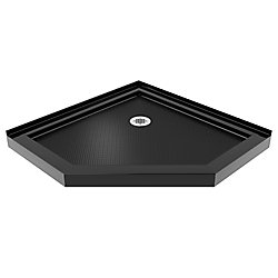 SlimLine 38-inch x 38-inch Corner Shower Base in Black colour