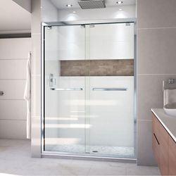 DreamLine Encore 54-inch x 76-inch Frameless Rectangular Sliding Shower Door in Glass with Chrome Hardware