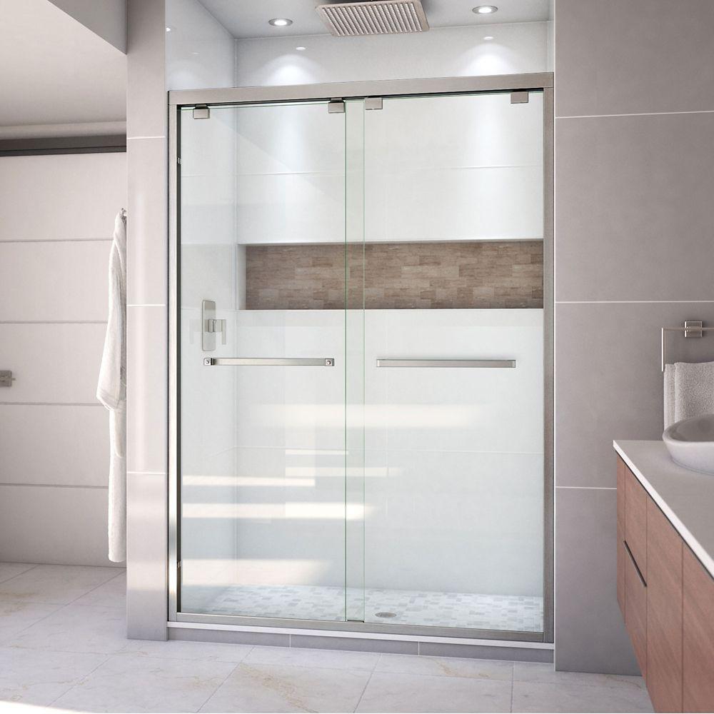 DreamLine Encore 54-inch x 76-inch Frameless Rectangular Sliding Shower Door in Glass with Brushed Nickel