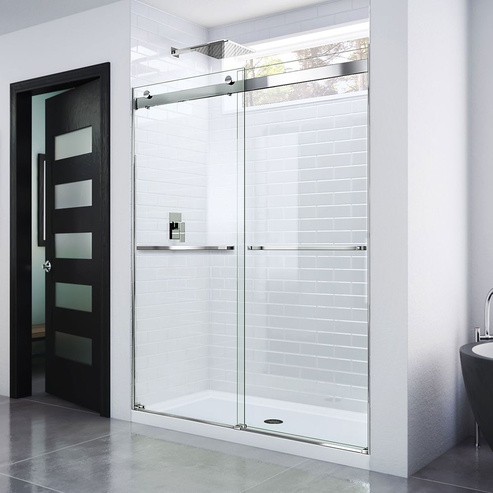 DreamLine Essence 48-inch x 76-inch Frameless Rectangular Sliding Shower Door in Glass with Chrome Hardware