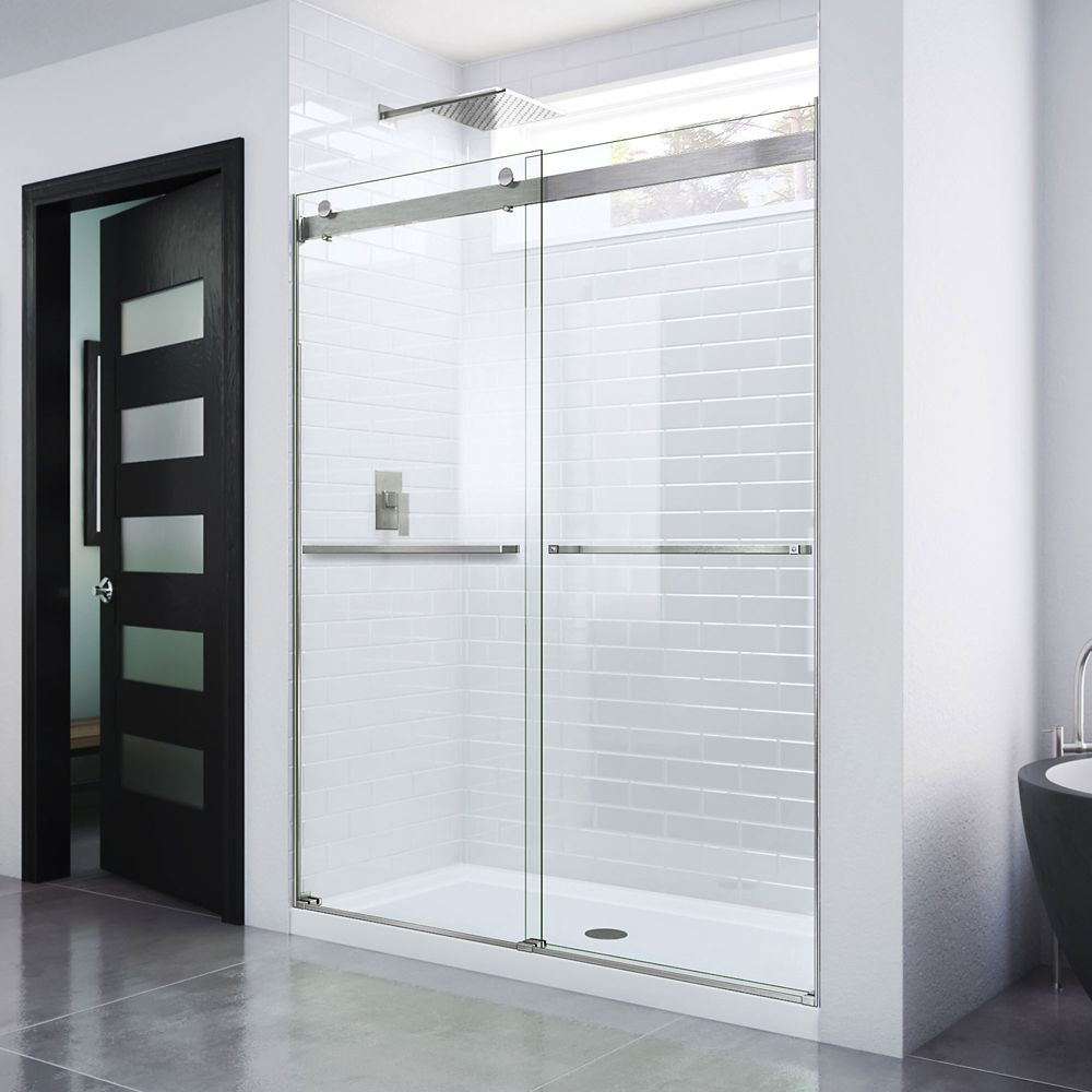 DreamLine Essence 48-inch x 76-inch Frameless Rectangular Sliding Shower Door in Glass with Brushed Nickel