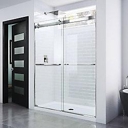 DreamLine Essence 56-inch to 60-inch x 76-inch Semi-Frameless Sliding Shower Door in Chrome