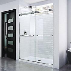 Essence 56-inch to 60-inch x 76-inch Semi-Frameless Sliding Shower Door in Chrome