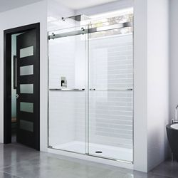DreamLine Essence 56-inch to 60-inch x 76-inch Semi-Frameless Sliding Shower Door in Chrome