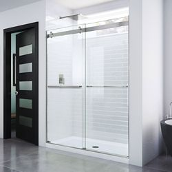 DreamLine Essence 60-inch x 76-inch Frameless Rectangular Sliding Shower Door in Glass with Brushed Nickel