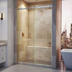DreamLine Enigma Air 48-inch x 76-inch Frameless Rectangular Sliding Shower Door in Glass with Stainless Steel