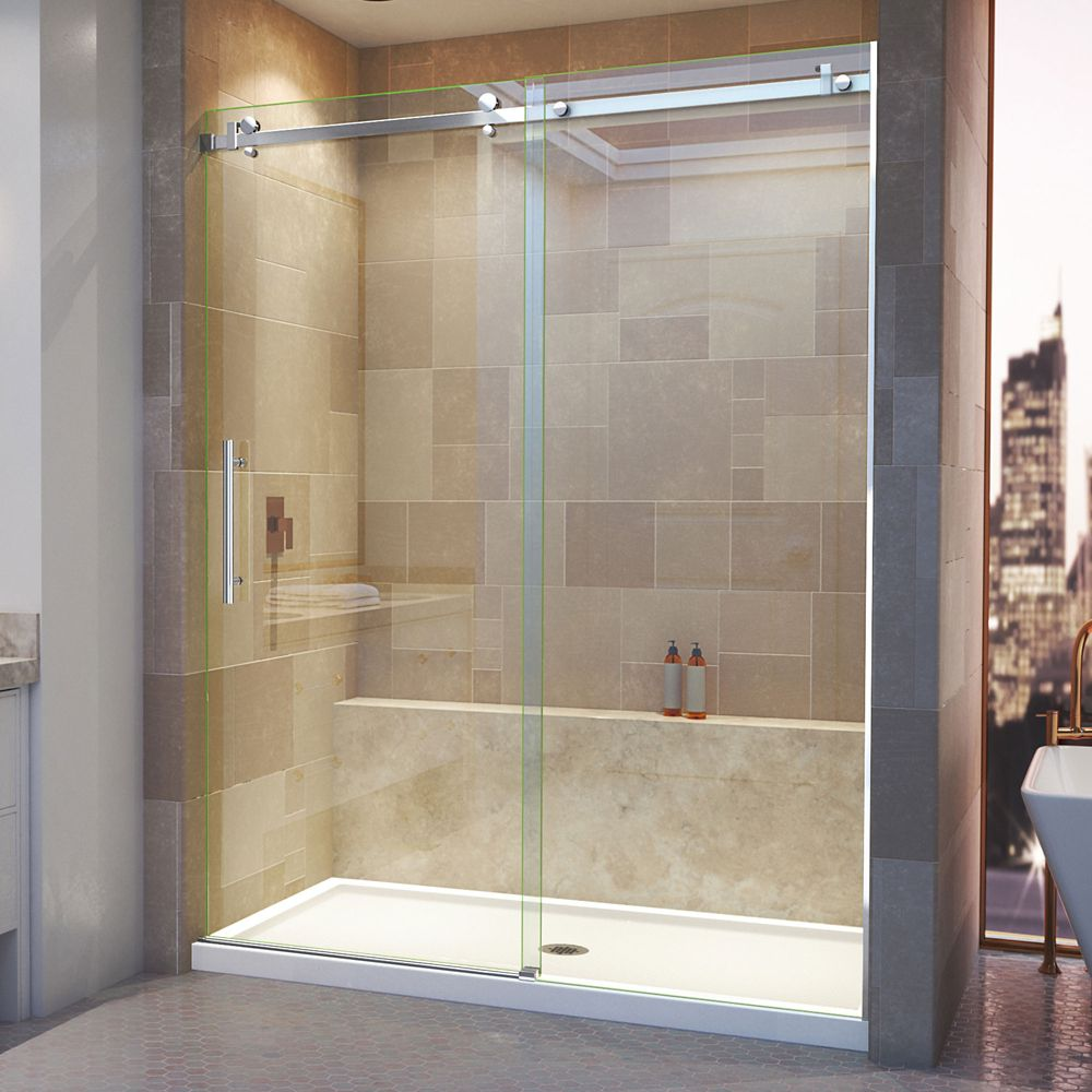 DreamLine Enigma Air 60-inch x 76-inch Frameless Rectangular Sliding Clear Shower Door with Polished Hardware