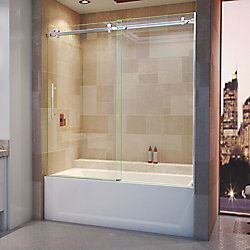 DreamLine Enigma Air 56-inch to 60-inch x 62-inch Frameless Sliding Tub Door in Polished Stainless Steel