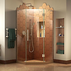 Prism Plus 34-inch W x 34-inch D Frameless Shower Enclosure in Brushed Nickel Hardware