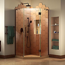 Prism Plus 36-inch W x 36-inch D Frameless Shower Enclosure in Oil Rubbed Bronze Hardware