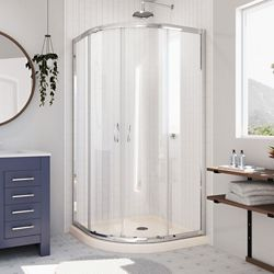 DreamLine Prime 34-3/8-inch x 72-inch Frameless Sliding Shower Enclosure in Chrome with SlimLine 36-inch x 36-inch Base in Biscuit