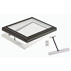 Columbia Skylights 2ft x 2ft Standard Electric Venting Curb Mount Double Glazed Clear Glass Skylight with Brown Frame