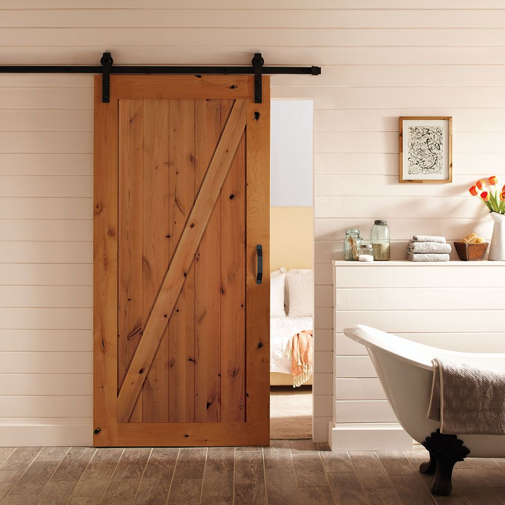 36 Inch X 84 Inch Z Bar Knotty Alder Wood Interior Barn Door