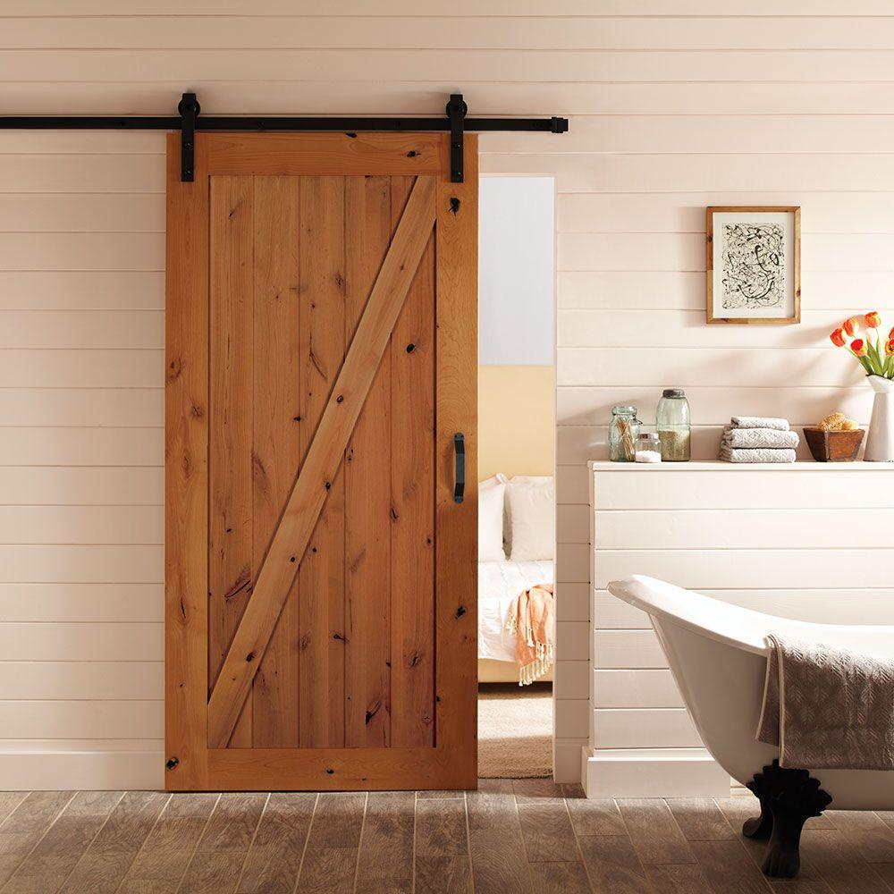 Porte Grange Coulissante Bois ensemble de portes intérieures z-bar knotty alder de style grange de 42 x  84 po avec rail et quincaillerie