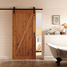 42-inch x 84-inch Z-Bar Knotty Alder Wood Interior Barn Door Slab with Sliding Door Hardware Kit