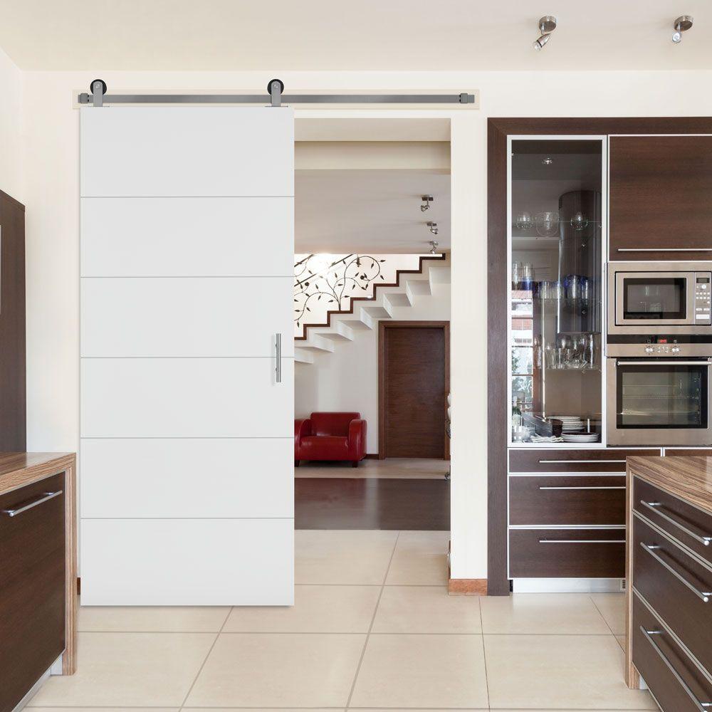 Masonite 36-inch x 84-inch Melrose Solid Core Primed Interior Barn Door Slab with Sliding Door Hardware Kit