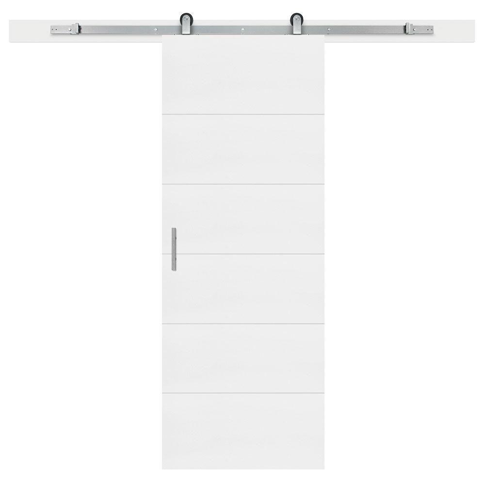 Masonite 30-inch x 84-inch Melrose Solid Core Primed Interior Barn Door Slab with Sliding Door Hardware Kit
