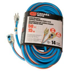 Canada Wire SJEOW 14/3 15.2M (50Feet) Single Lit Locking end - Orange/Blue