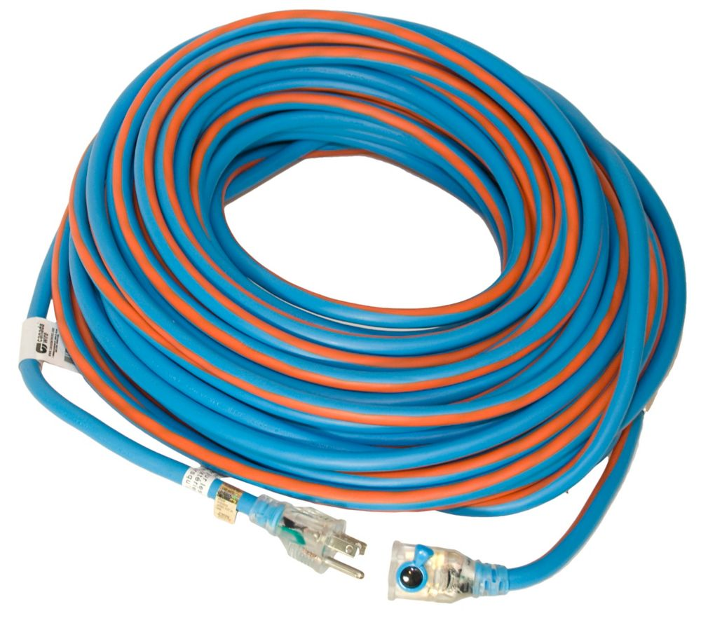 Canada Wire SJEOW 12/3 30.4M (100Feet) Single Lit Locking end - Orange/Blue