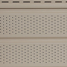 10-inch x 12 ft. Vinyl Double 5 Woodgrain Vented Soffit in Almond Beige and Tan