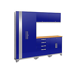 NewAge Products Inc. 72-inch H x 78-inch W x 18-inch D Steel Garage Cabinet Set (6-Piece) in Blue with Bamboo Top