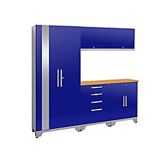 72-inch H x 78-inch W x 18-inch D Steel Garage Cabinet Set (6-Piece) in Blue with Bamboo Top