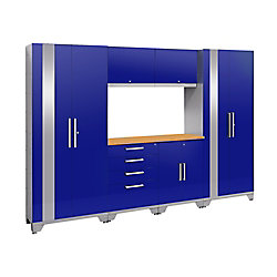 NewAge Products Inc. Performance 2.0 72-inch H x 108-inch W x 18-inch D Garage Cabinet Set in Blue (7-Piece)