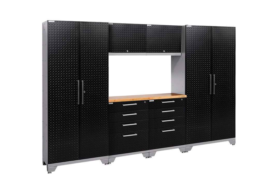 Performance Diamond Plate 2.0 Garage Cabinet Set in Black (7-Piece)