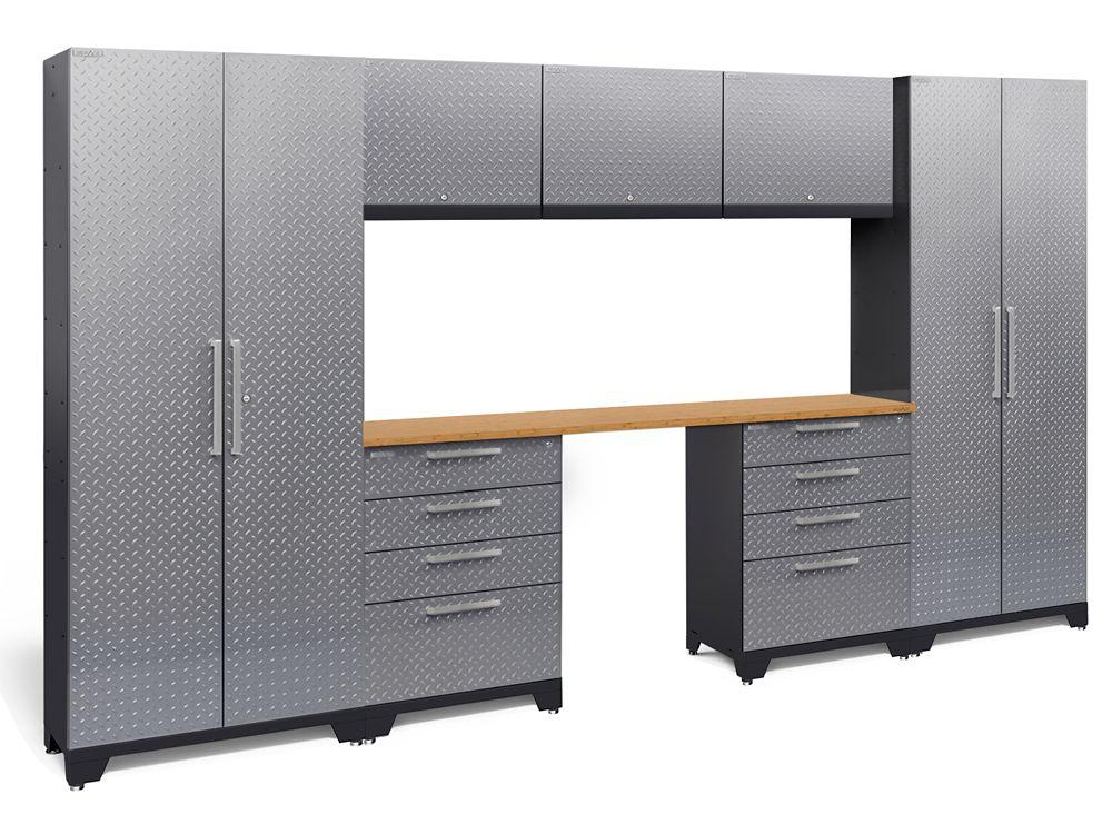 Performance Diamond Plate 2.0 Garage Cabinet Set in Silver (8-Piece)