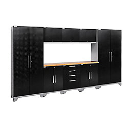 NewAge Products Inc. Performance Diamond Plate 2.0 Garage Cabinet Set in Black (9-Piece)