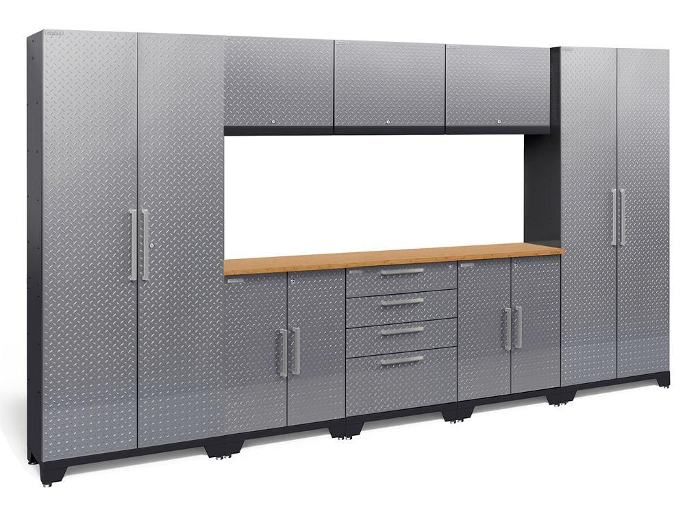 Performance Diamond Plate 2.0 Garage Cabinet Set in Silver (9-Piece)
