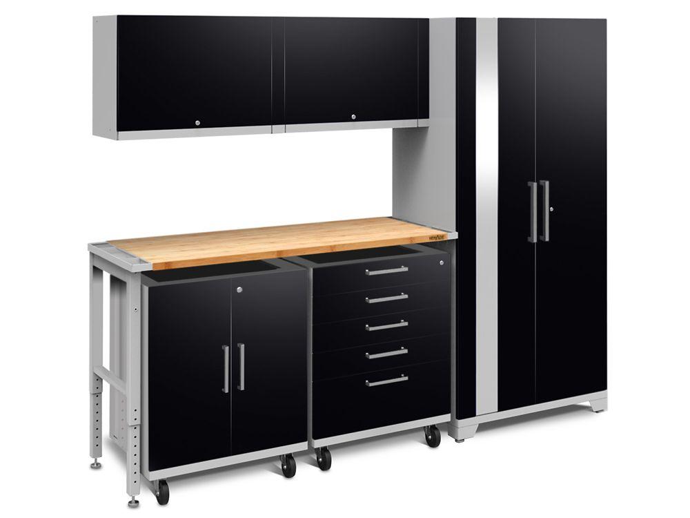 Performance Plus 2.0 Steel Garage Cabinet Set in Black (6-Piece) with Bamboo Worktop