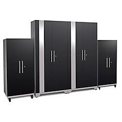NewAge Products Inc. Performance Plus 2.0 80-inch x 128-inch x 24-inch Steel Garage Cabinet Set in Black