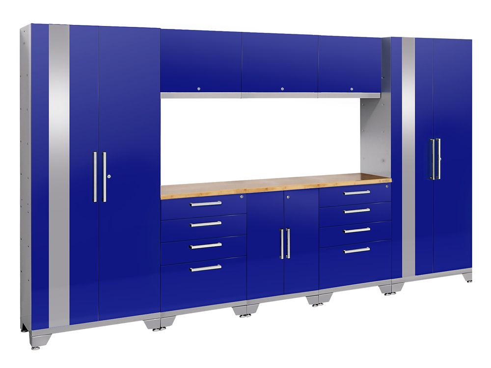 NewAge Products Performance 2.0 72-inch H x 132-inch W x 18-inch D Garage Cabinet Set in Blue (9-Piece)