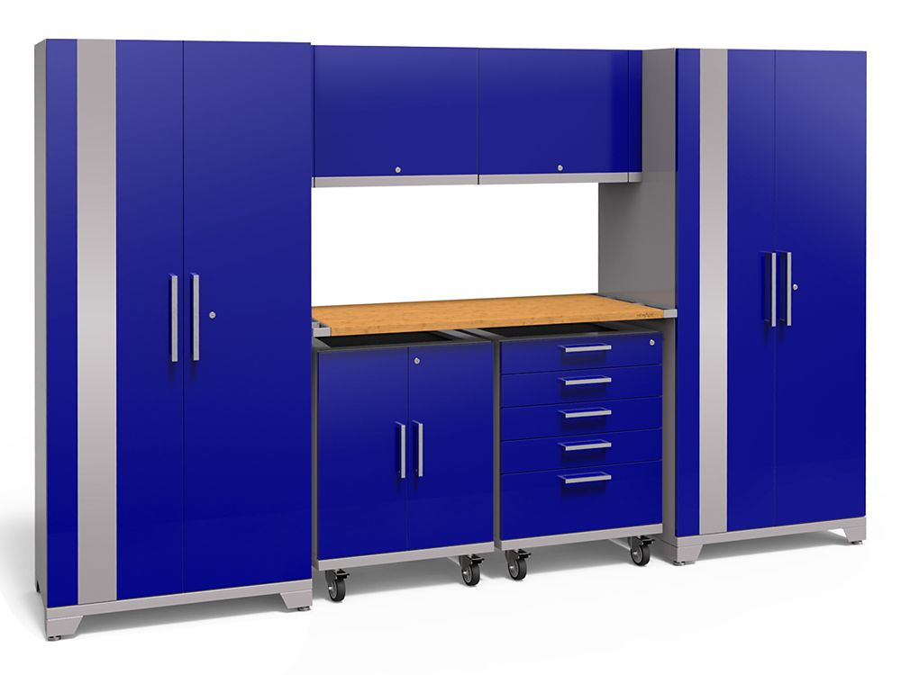 80-inch H x 133-inch W x 24-inch D Steel Garage Cabinet Set in Blue (7-Piece) with Bamboo Worktop