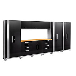 NewAge Products Inc. Performance 2.0 Series Modular Garage Cabinet Set in Black (10-Piece)