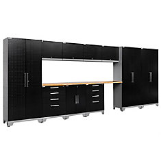 Performance 2.0 Diamond Plate Storage Cabinets in Black (12-Piece Set)
