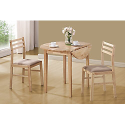 Monarch Specialties Dining Set - 3-Pieces Set / Natural With A 36 Inch Dia Drop Leaf