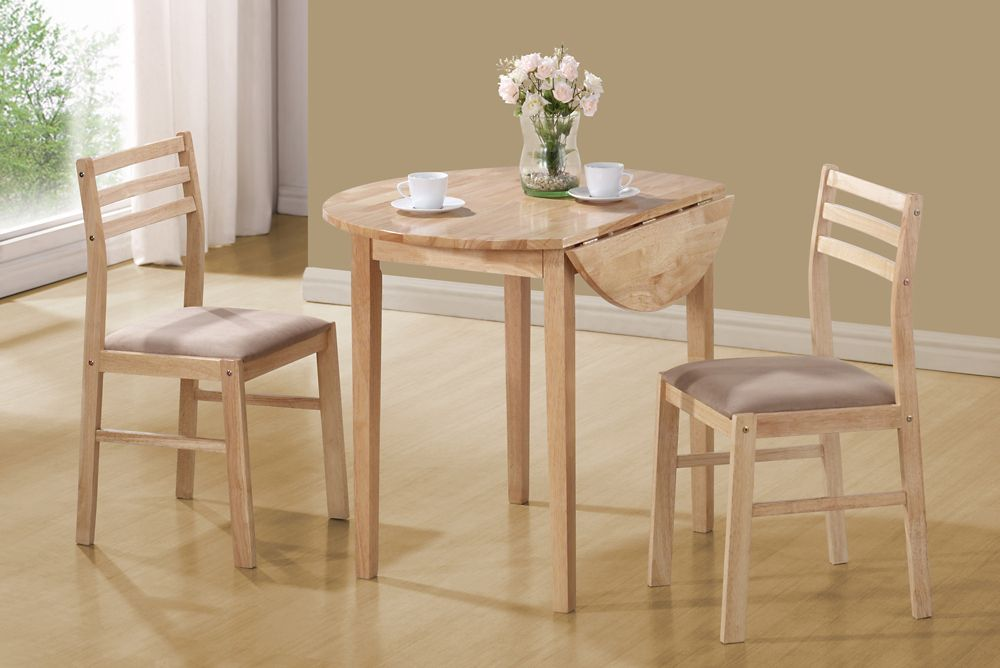 Monarch Specialties Dining Set - 3pcs Set / Natural With A 36 Inch Dia Drop Leaf