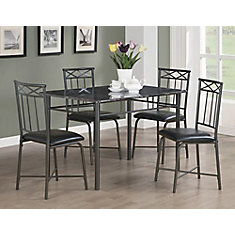 Dining Set - 5-Pieces Set / Grey Marble / Charcoal Metal