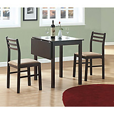 Dining Set - 3-Pieces Set / Cappuccino Solid-Top Drop Leaf