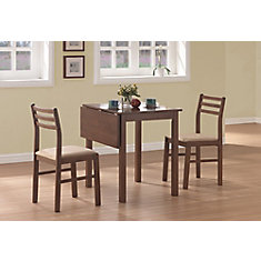Dining Set - 3-Pieces Set / Walnut Solid-Top Drop Leaf